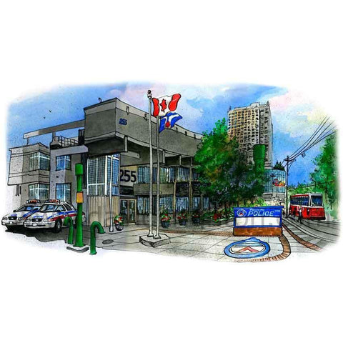 Police Station 52 Division, Toronto, Canada by Artist Illustrator David Crighton Art