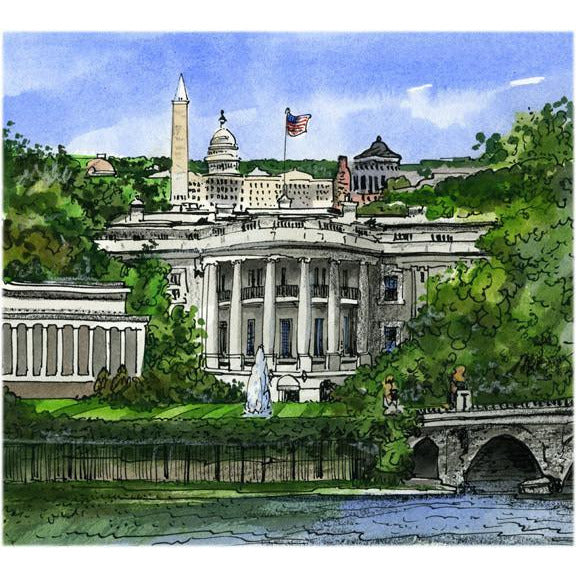 Washington, D.C., Usa By Artist Illustrator...