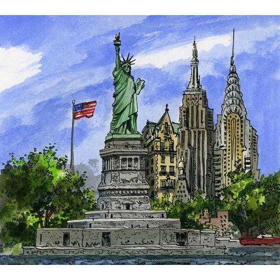 New York City, Usa By Illustrator Artist David...