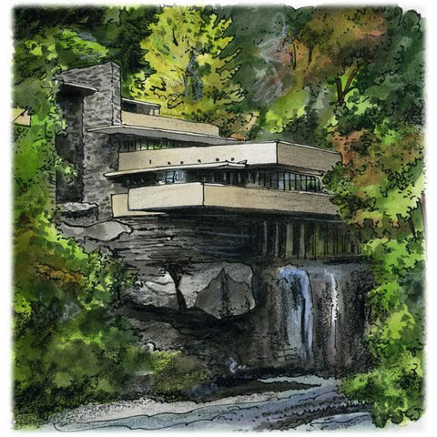 Fallingwater, Pennsylvania USA by Artist Illustrator David Crighton Art