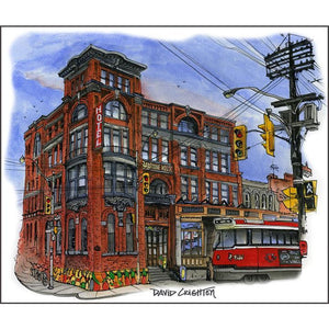 Gladstone Hotel, Toronto Art Print by Artist Illustrator Totally Toronto Art