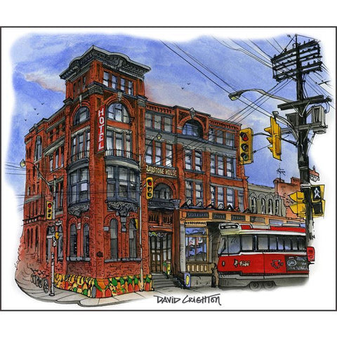 Gladstone Hotel, Toronto Art Print by Artist Illustrator David Crighton Art