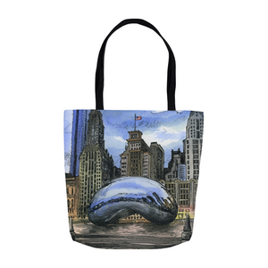 Canvas Tote Chicago Sculpture City Scape Art Gift