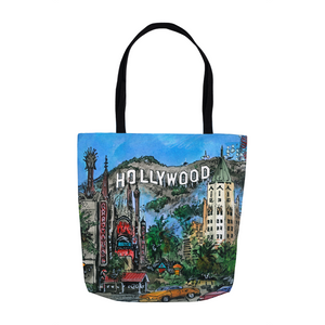 Hollywood Hills Urban Art Tote, LA Souvenir Gift