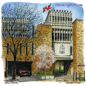 Massey College, U. of Toronto, Canada by Artist Illustrator David Crighton Art