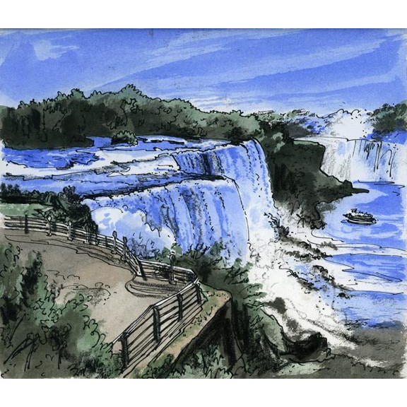Niagara Falls, U.S.A. by Illustrator Artist David Crighton Art