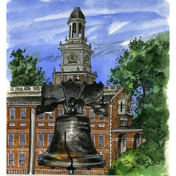 Philadelphia, U.S.A., by Illustrator Artist David Crighton Art