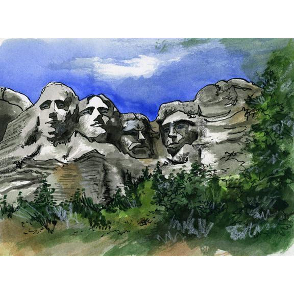Rushmore National Memorial by Illustrator Artist David Crighton Art