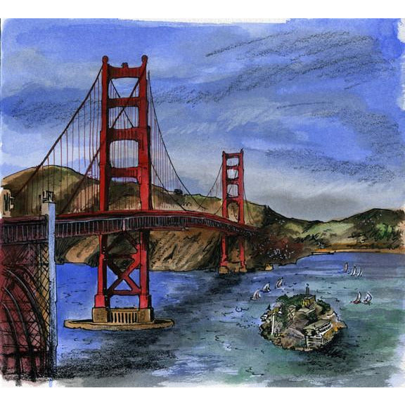 San Francisco, California, U.S.A. by Illustrator David Crighton Art