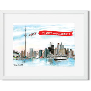 Custom Valentine's Day Message in a sweet Toronto Skyline Mini Frame
