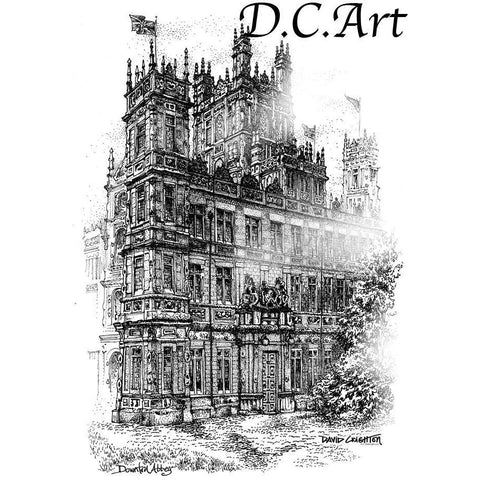 Downton Abbey Pen and Ink by Artist Illustrator David Crighton Art