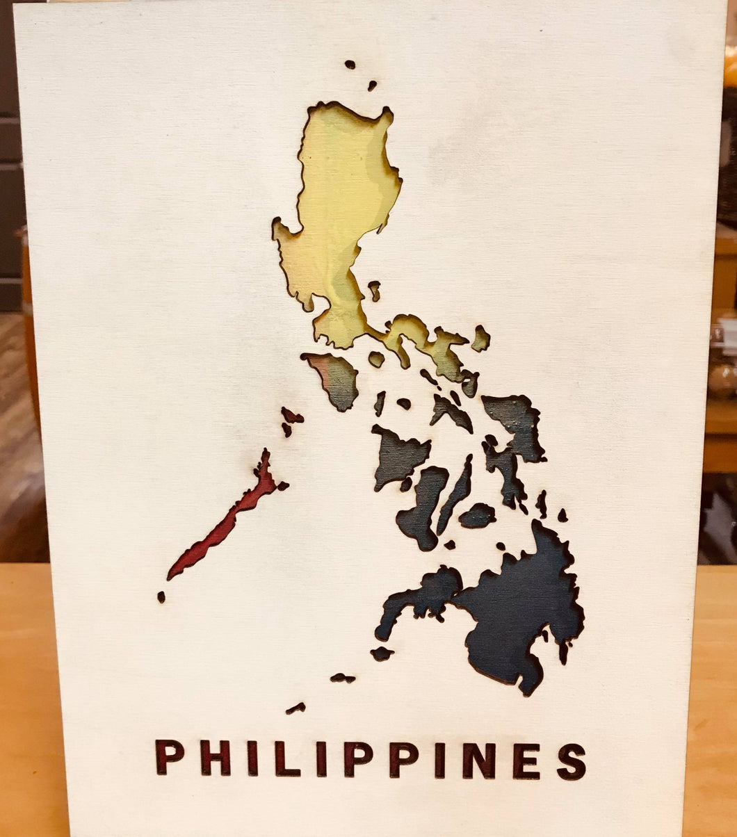 Vella Hazel & Pearl Intricate Wooden Wall Art - PH Map