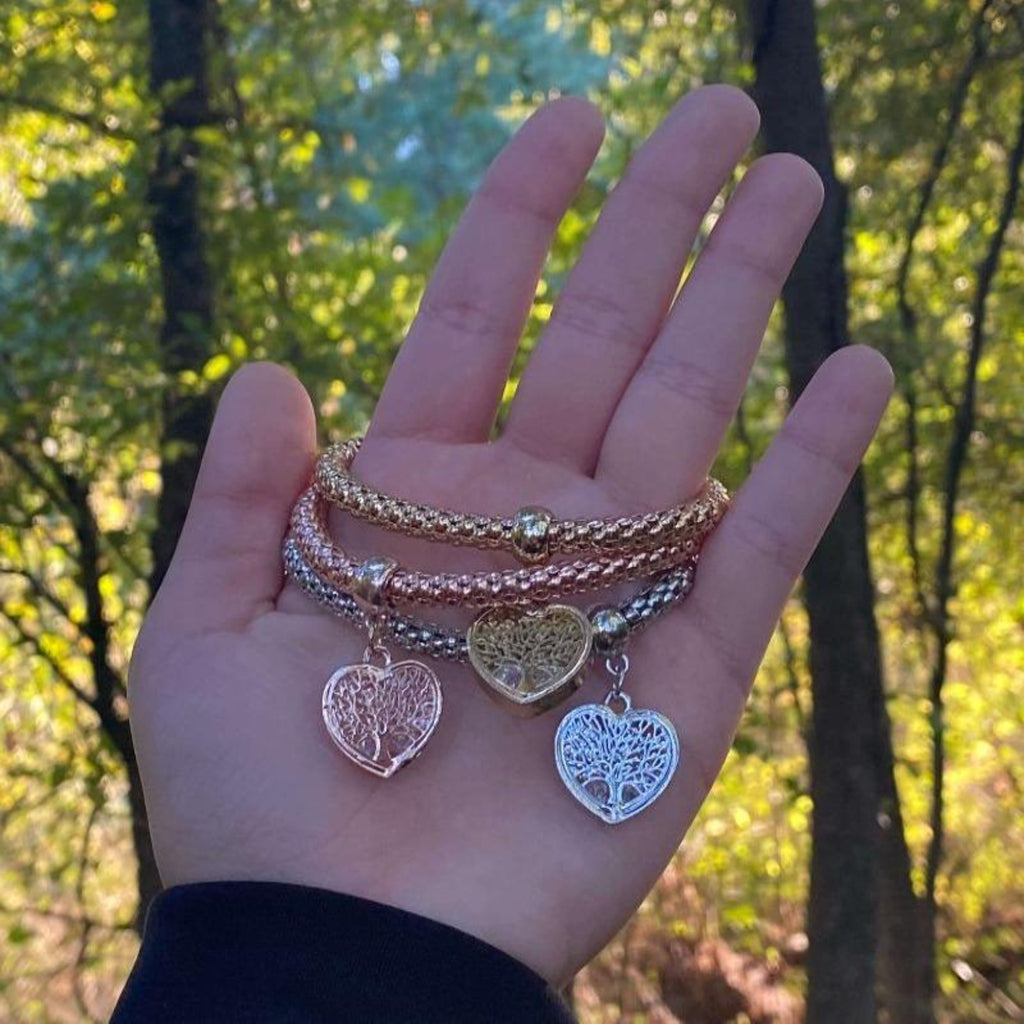 """Tree of Life"" Heart Edition Charm Bracelet with Austrian Crystals: Plant a tree with every bracelet 🌲"