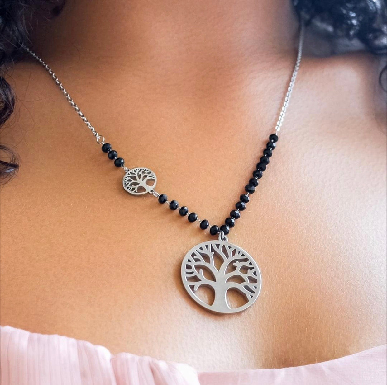 Tree of Life Steel Beaded Necklace (Plants 1 Tree)🌲