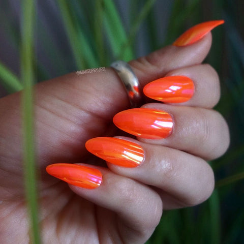 chrome orange nails Move Manicure Singapore