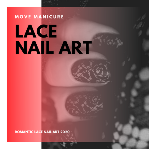 black lace nail art by Move Manicure Singapore
