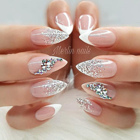 Top 10 Sparkling French Nails with Glitter