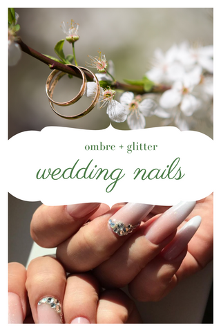 ombre wedding nails with glitter