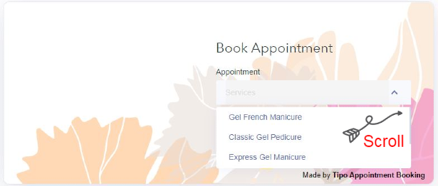 step 2 how to book an appoinment choose manicure pedicure services
