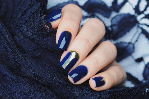 Blue Gold Polish Nail Art
