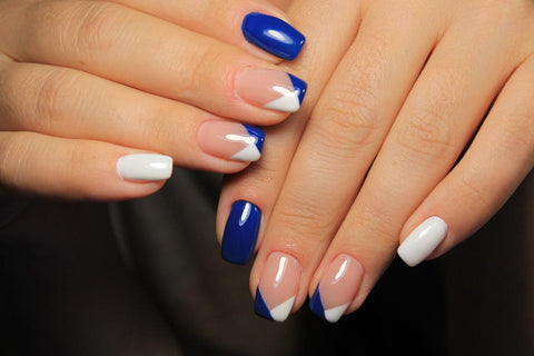Blue White French Polish Nails