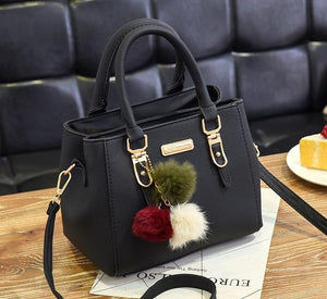 Luxury Handbag Women Bags Women Hairball Shoulder Bag  Ladies Hand Bags Vintage Leather Messenger Bag  Female Hand Bolso Bags