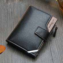 Load image into Gallery viewer, New Business men's wallet Short vertical Male Coin Purse casual multi-function card Holders bag zipper buckle triangle folding