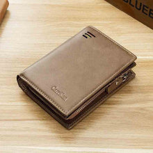 Load image into Gallery viewer, New Korean casual men's wallet Short vertical locomotive British casual multi-function card bag zipper buckle triangle folding