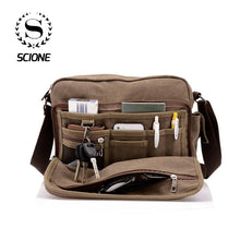 Load image into Gallery viewer, Scione Canvas Multifunction Messenger Shoulder Bag Solid Briefcases Suitcase Card Pocket For Men Women Office Outdoor Travel Bag