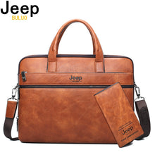 "Load image into Gallery viewer, JEEP BULUO Men's Briefcase Bags For 14"" Laptop Man Business Bag 2Pcs Set Handbags High Quality Leather Office Shoulder Bags Tote"