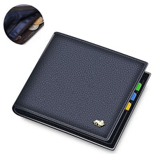 Load image into Gallery viewer, BISON DENIM 100% Cow Leather Wallet Men Fashion Bifold Card Holder Wallet RFID Blocking Male Short Purse High Quality N4475