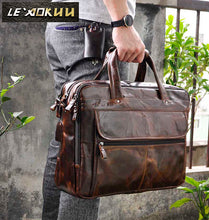 Load image into Gallery viewer, Men Oil Waxy Leather Antique Design Business Briefcase Laptop Document Case Fashion Attache Messenger Bag Tote Portfolio 7146