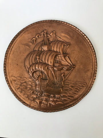 Brass Round Ship Wall Hanging