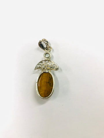 Tigers Eye Silver and Pearl Pendant