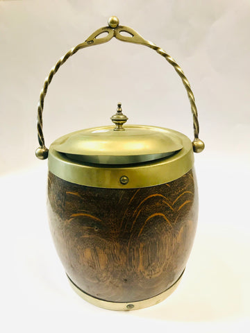Wooden and Electroplated Biscuit Barrel