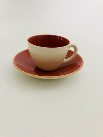 Poole Demitasse Terracotta Red and Cream Cup and Saucer
