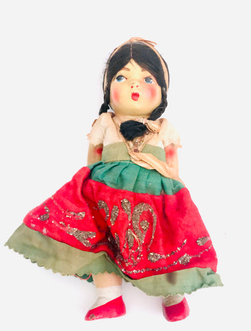 Mexican Handpainted Wooden Doll