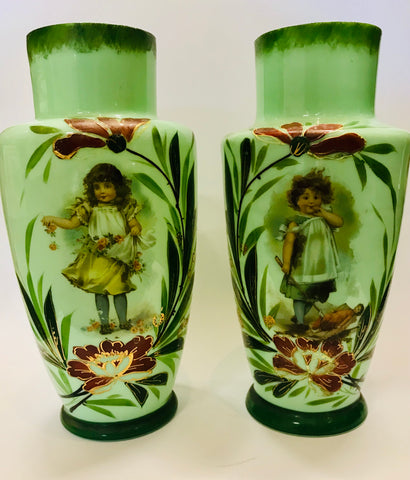Green Pair of Victoria Fine China Vases