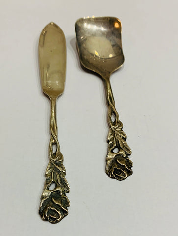 Sterling Silver Jam Spoon and Butter knife Rose design