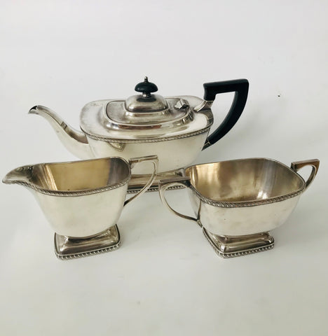 Three Piece Electroplated Tea Set Old Sheffield