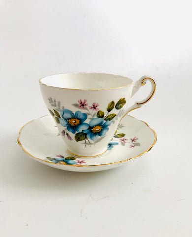 Regency Cup and Saucer with Blue Flowers