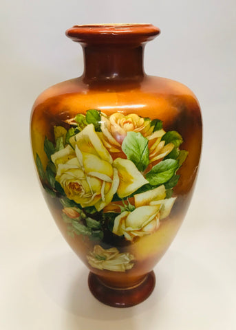 Old Victorian White Rose and Orange Vase