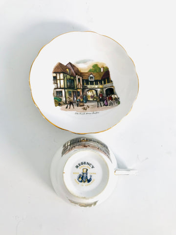 "Regency ""Old Coach House Stratford"" Cup and Saucer"