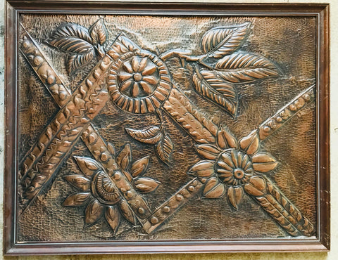 Large Copper Flower Framed Wall Hanging