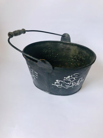 Light Weight Tin Ornamental Bucket with Turned wooden handle