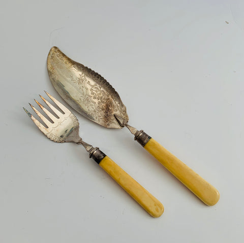 Silver Cake knife and fork Ivory Handles