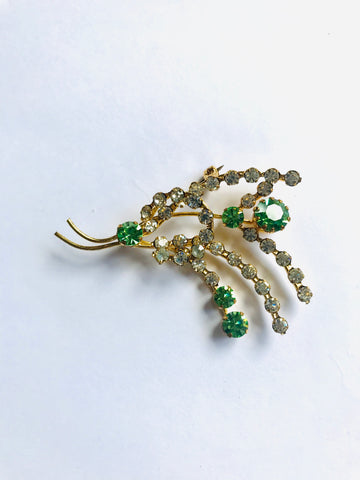 Vintage Diamanté Green and Clear Spray Brooch