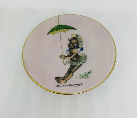 Brownie Downing Mini Hanging Plate Girl with Green and Yellow Umbrella