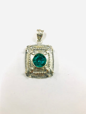 Square Silver and Turquoise Coloured Jewel Pendant