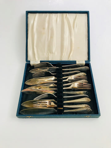 Silver Plated 12 piece Fish Set in Original Box